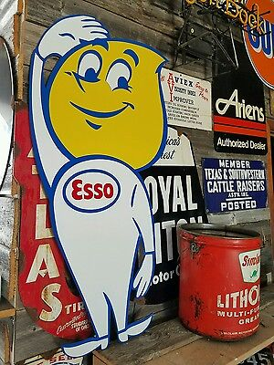 Antique Vintage Old Look Esso Oil Drop Sign 42inches!