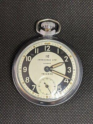 Vintage Ingersoll GB Ltd Triumph Hand Wind Pocket Watch - Working