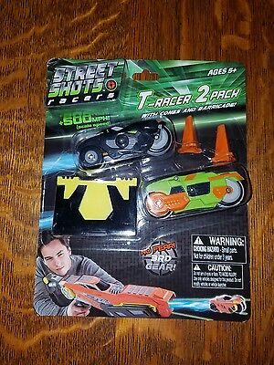 Street Shots T-Racers with Cones and Barricade - 2 Pack New (Street Cones)