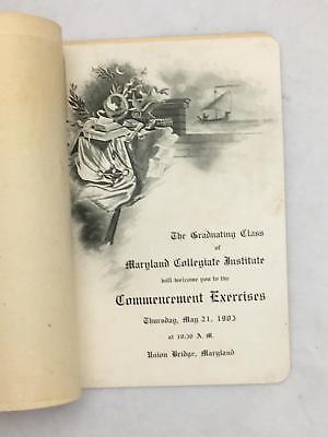 Maryland Collegiate Institute Union Bridge 1903 Graduation Booklet Carroll Co MD