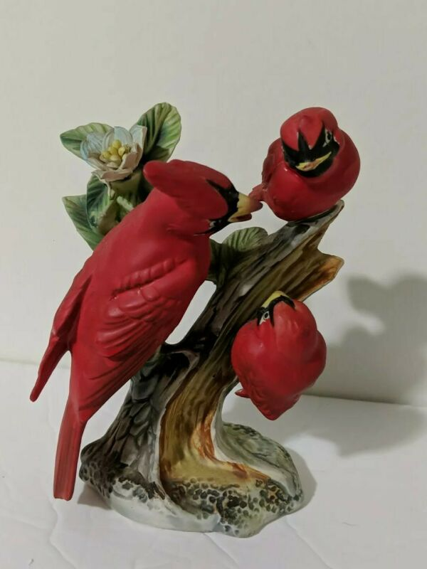"Cardinal Figurine Family 3 Birds Ceramic Vtg Enesco Japan 5.5"" Tree Branch"