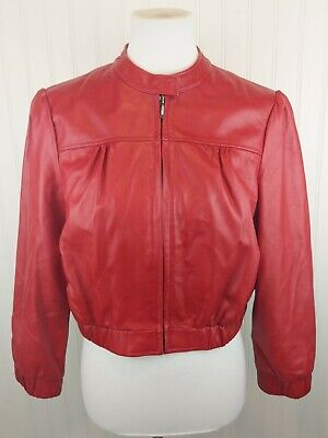 BEBE Lipstick Red Real Leather Moto Jacket Cropped Lined Bomber M Zip 3/4 Sleeve