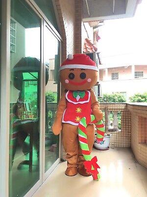 Chrismas Oven Break Mascot Gingerbread Man Costume Tailor Suit Unisex Dress Size](Chrismas Costumes)