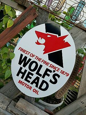 Antique Vintage Old Style Wolfs Head Motor Oil Sign 23