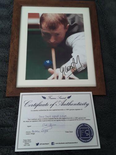 Snooker Memorabilia- 6 Times World champion STEVE DAVIS Signed and Framed With COA