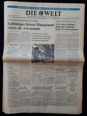 DIE WELT TAGESZEITUNG vom * 18. April 1970 * (RAUMFAHRT, Apollo 13) B 106