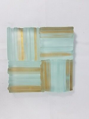 Artistic Glass Tile frost Gold Border 4 x 4