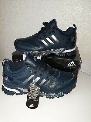 Adidas Adiprene, echt Leder, Größe 44; UK 9 1/2 dunkelblau Farbe Made in Vietnam