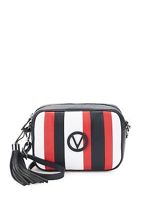 Mario Valentino Mia Striped Leather Crossbody Bag, red multicolor