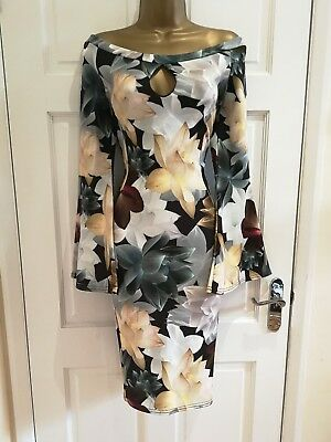 Floral Bell (Womens  Black Bell Sleeves Floral Bardot Party Evening Bodycon Dress Sz  8 - 16)