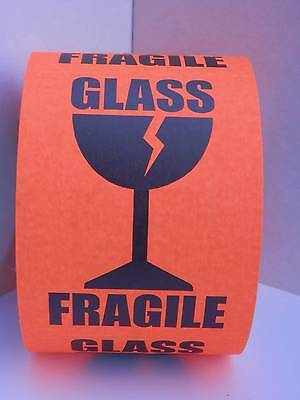 Fragile Glass Large Intl Symbol Fluor Red 3x4 Warning Sticker Label 125rl