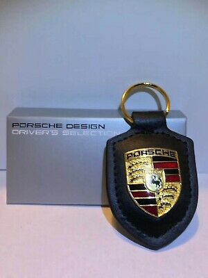 Black Porsche Crest Key Chain Key Ring  USA Shipper Excellent Black Leather