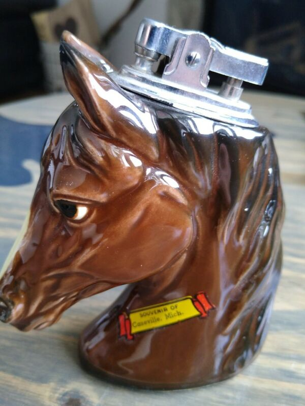 "VINTAGE CERAMIC HORSE HEAD LIGHTER SOUVENIR CASEVILLE MICHIGAN 4.5"" x 4"" NICE!"