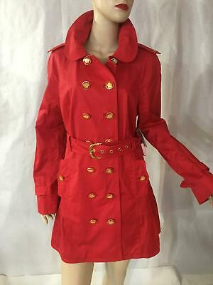 - Juicy Couture red velvet cotton trench coat belted ruffle jacket L $378