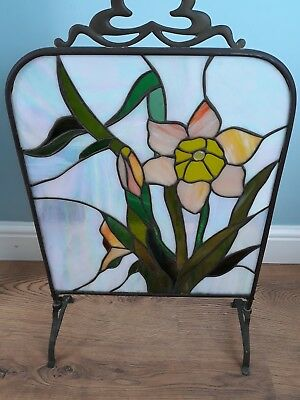 ART DECO  STAINED GLASS/BRASS  FIRE SCREEN   28in X 16.5in.