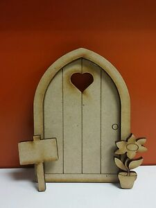 2 x wooden mdf 3d fairy doors on 4mm tall x 8cm for Wooden fairy doors that open