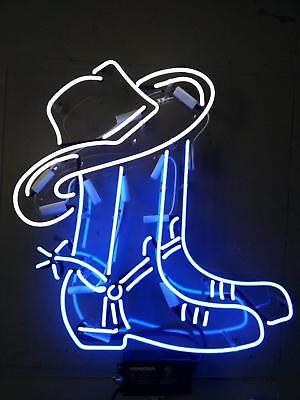 New Cowboy Boot Hat Acrylic Light Bar Beer Neon Sign 24