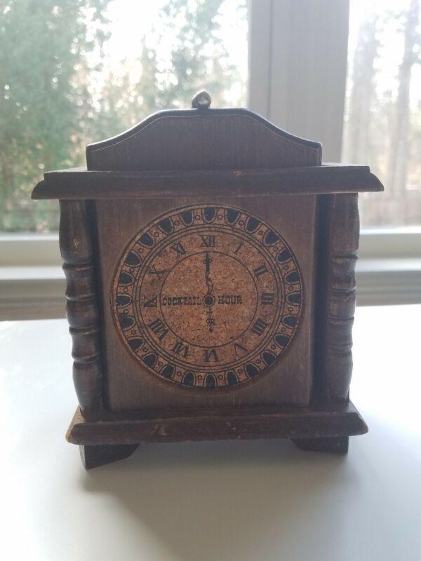 Vintage Clock Face 6 Coasters Set Steampunk Wood Cork Roman Numeral