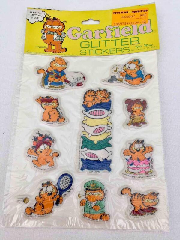 NEW Vintage 1978 Garfield 10 Puffy GLITTER Stickers by Kat