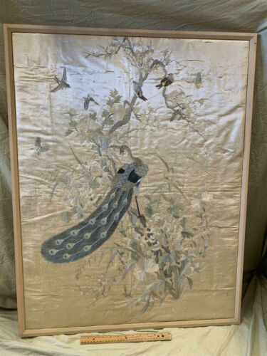 """19th Century Framed Embroidered Chinese Silk Panel/Tapestry 38x29"""" Peacock/Birds"""