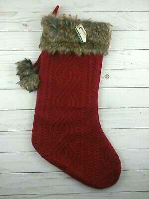 Christmas Stocking Red Knit Faux Fur