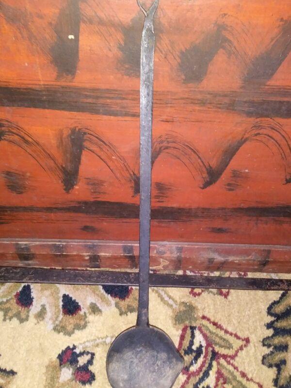 19th Century Iron Hearth Fireplace Utensil Spoon Ladle c.1800