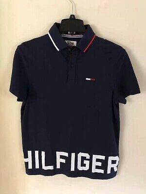 NWT Tommy Hilfiger Denim Huge Logo Mens Blue Custom Fit Polo Shirt
