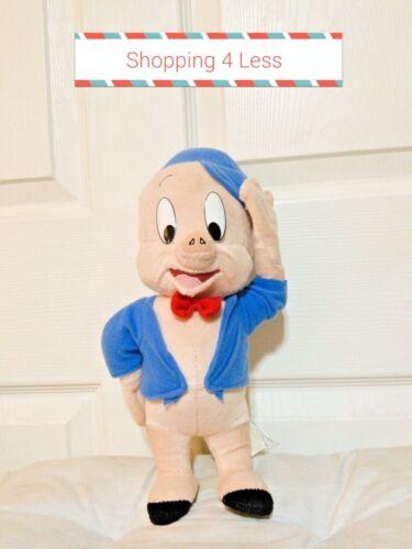 Looney Tune PORKY PIG SALUTING Blue Jacket RED BOW HAT Plush Stuffed Animal #705