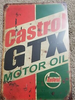 Castrol Oil GTX Motor Oil Tin Sign Vintage Style Garage Wall Decor