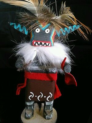 "Native American Navajo Kachina Doll 5"" Angry Hand Painted Signed Iris Jim"