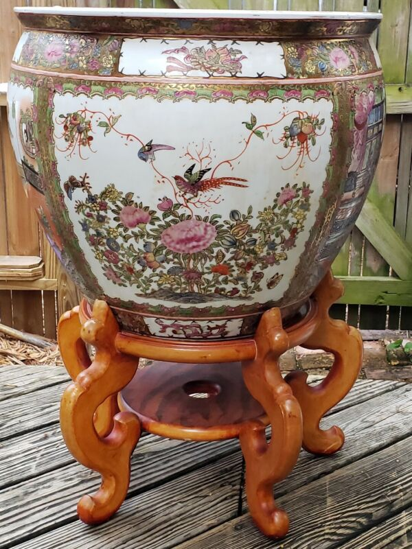 Large Chinese Famille Rose Medallion Porcelain Fish Bowl  LOCAL PICKUP ONLY