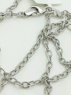14k White Gold Textured Oval Cable Link Pendant Necklace Chain 18