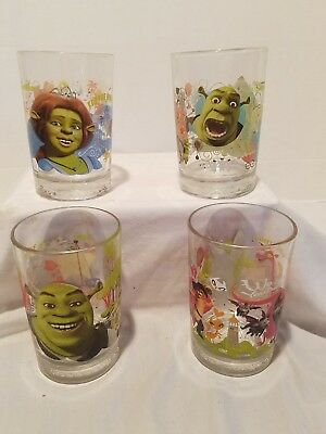 "*Disney ""Shrek The Third"" Dreamworks McDonald's Glasses Set Of Four,"