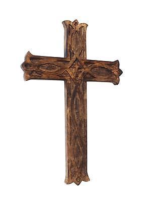10 Inch wooden Indian Handmade Art Unique Design Lucky Charm Wall Hanging Cross - Wooden Cross