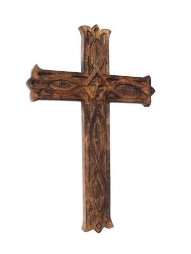 """Jesus Christ Cross Wooden Crucifix for Wall Church Chapel Decoration - 10"""" Brown"""