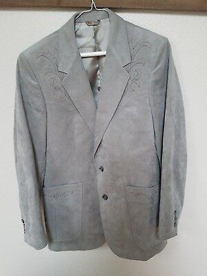 Scully Vintage Mens Ultra Suede Gray Western Jacket Blazer Steve Gordon Las Vega