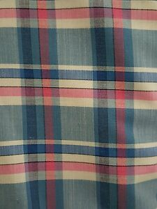 PAUL SMITH  100% PURE  COTTON SHIRT FABRIC BLUE WHITE PINK  CHECK  FINEST  150CM