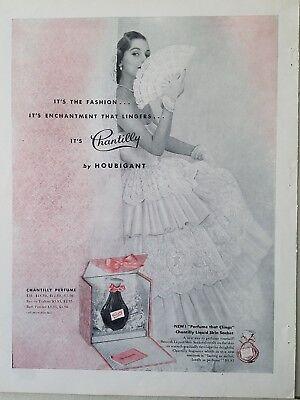 1951 Houbigant Chantilly Parfümflasche Damen Spitze Folding Fan Kleid Anzeige Fan-kleid