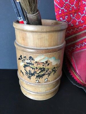 Old Chinese Bamboo Bitong Scholar Brush Pot …beautiful collection item