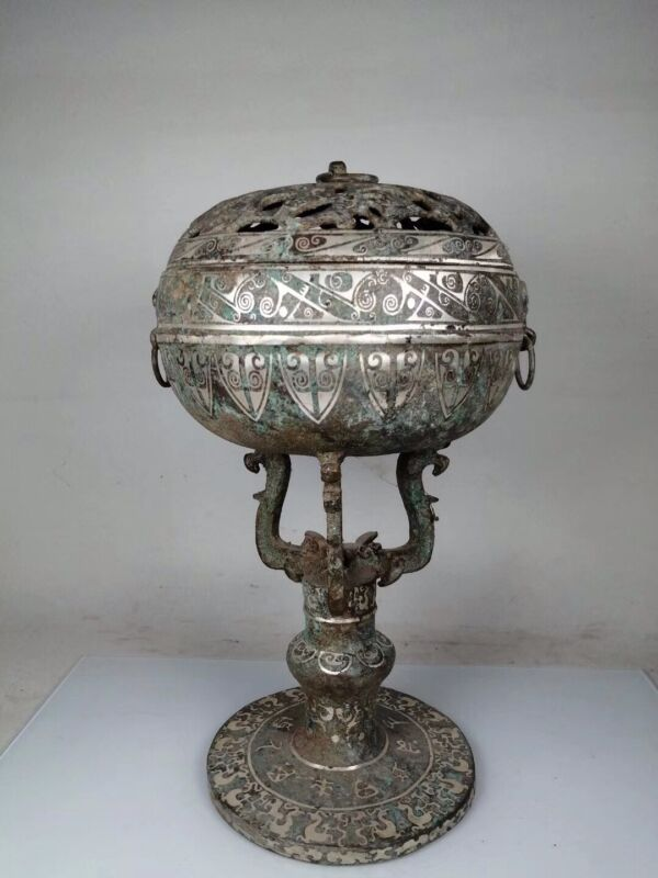 Chinese Old bronze handmade Build silver-plated double Dragon incense burner
