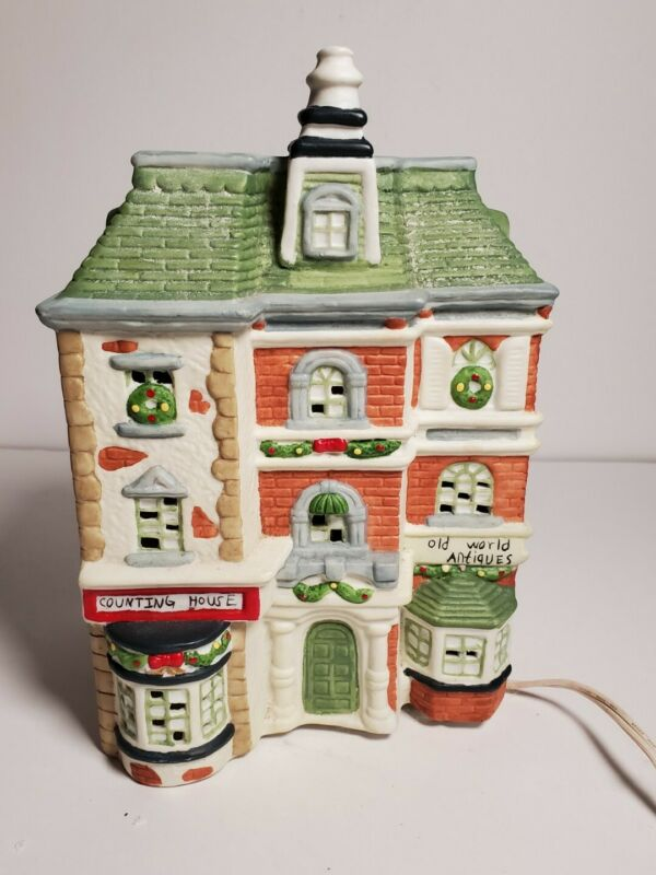 Christmas Village Counting House and Antiques Illuminated