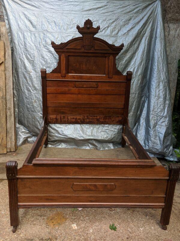 Victorian Eastlake  3 Pc Bedroom Set, Walnut & Marble bed,dresser & washstand