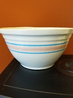 Vintage Large McCoy USA Oven Ware Mixing BOWL #12 Pink Blue Bands Yellow Ware