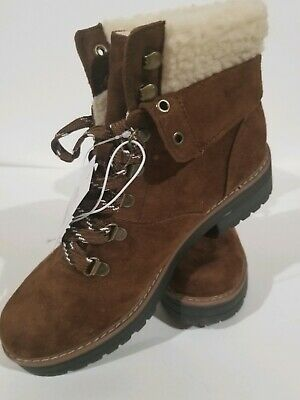 Women's Suede Lace-up High Top Ankle Boot Hiking Shoe Faux Fleece Size 8 Lift Faux Sheepskin Boot