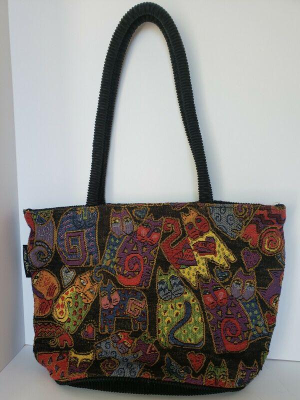 Vtg. Laurel Burch Tapestry/Corduroy/Knit Felines/Cats Shoulder Bag-Purse