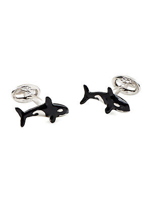 $450 NWOT JAN LESLIE Orca enamel Rhodium plated Men's Sterling Silver cufflinks Enamel Rhodium Silver Cufflinks