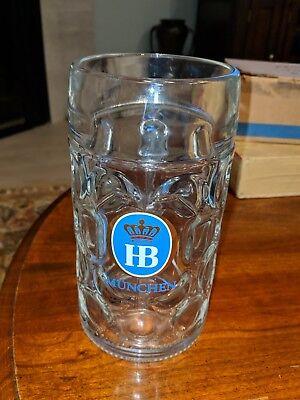 "1 Liter HB ""Hofbrauhaus Munchen"" Dimpled Glass Beer Stein Mug Hofbrau"