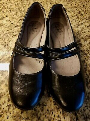 LIFE STRIDE LOCK WOMEN'S BLACK DOUBLE STRAP MARY JANE SHOES SZ 8N