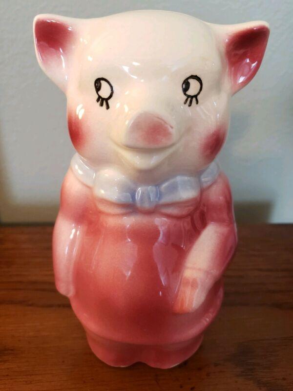 Vintage Royal Copley Ceramic Pink Pig Piggy Bank Blue Bow tie
