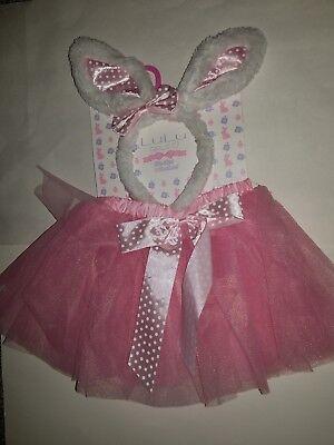 Toddler Girls LuLu Tutu Skirt & Headband Pink & White Bunny Costume Set